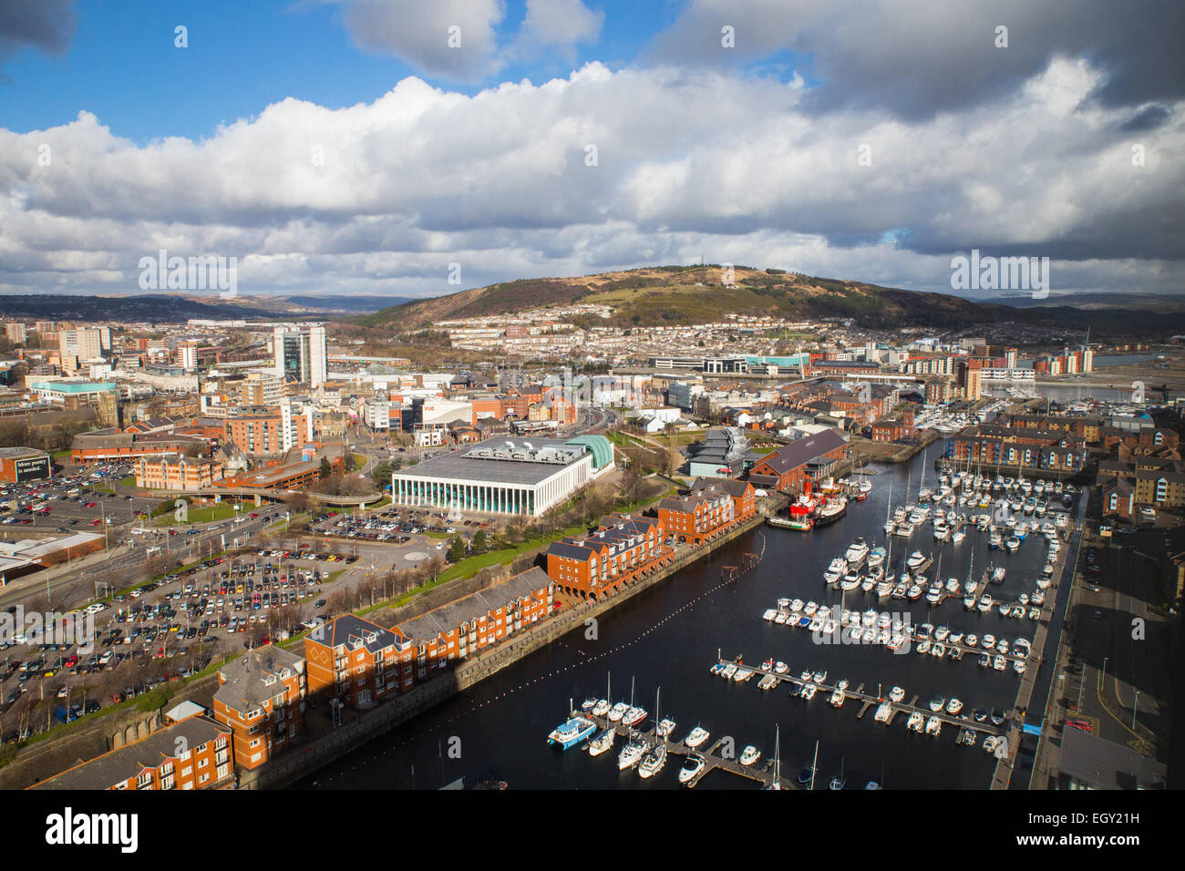 View of Swansea City and Marina. - Stock Image