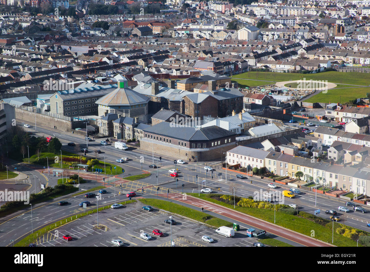Aerial view of Swansea prison. - Stock Image