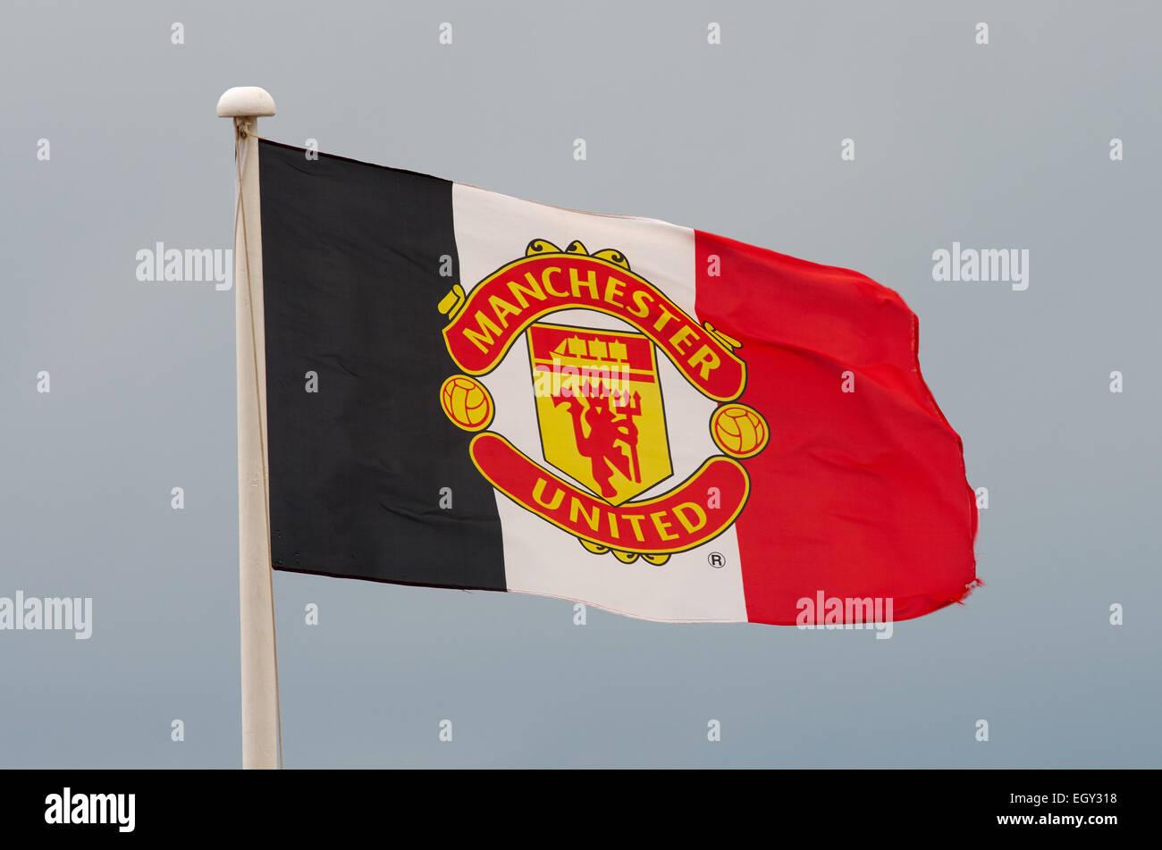 Manchester United supporter flag - Stock Image
