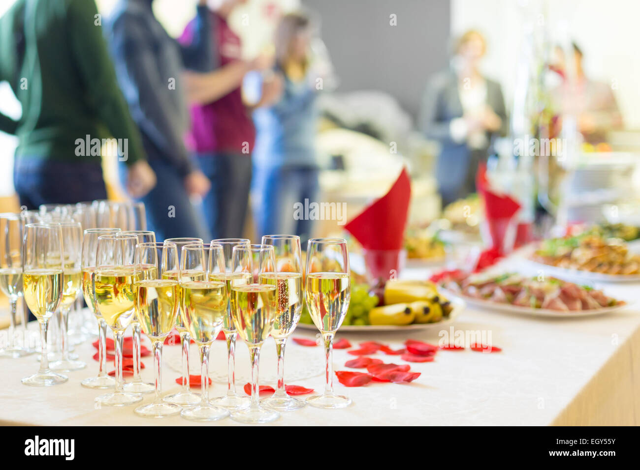 Banquet event. Champagne on table. - Stock Image