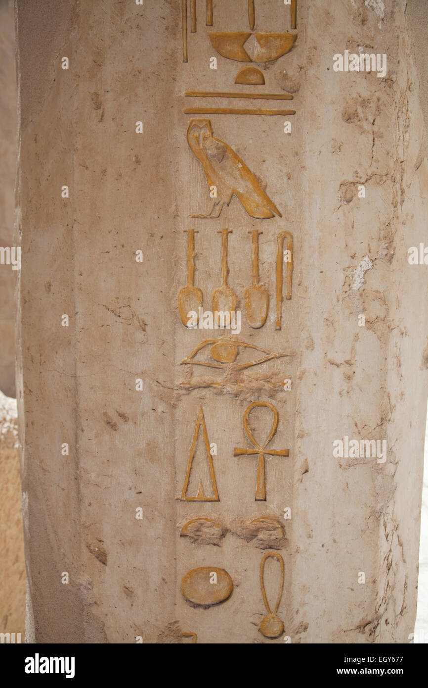 Egyptian Hieroglyphs at Temple of Hatshepsut, Luxor - Stock Image