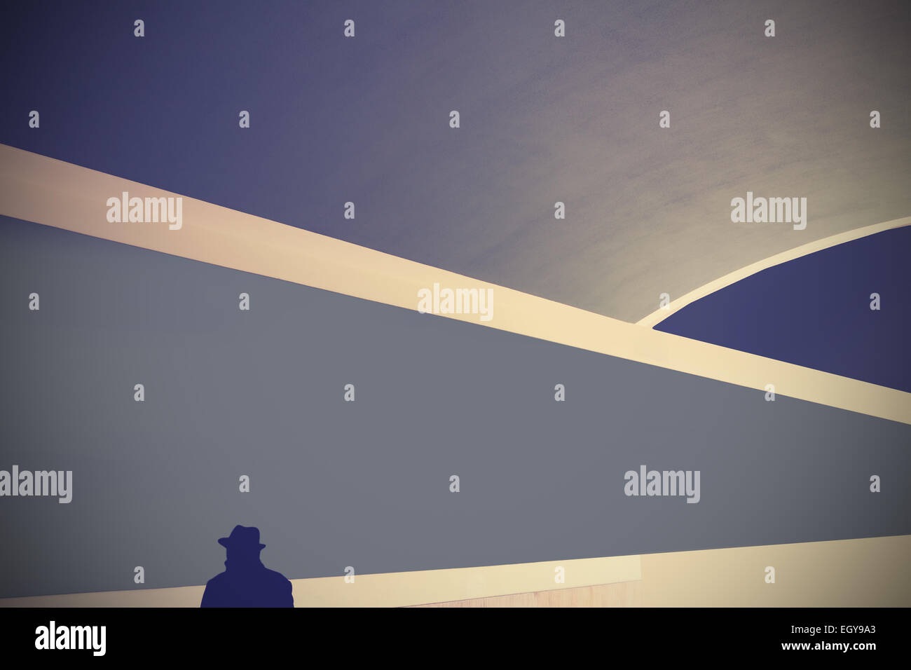 Retro abstract background with silhouette of a man in hat. - Stock Image