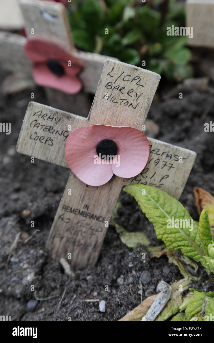 Armistice Day cross at war memorial in Grantham. - Stock Image