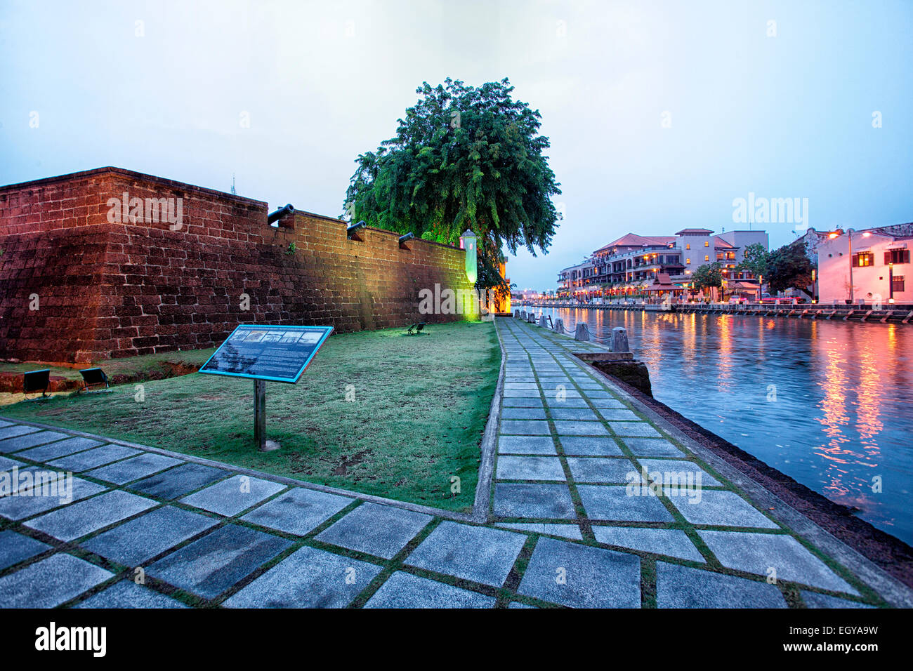 Malaysia, Malacca City, Reconstruction of the watchtower by the riverside - Stock Image