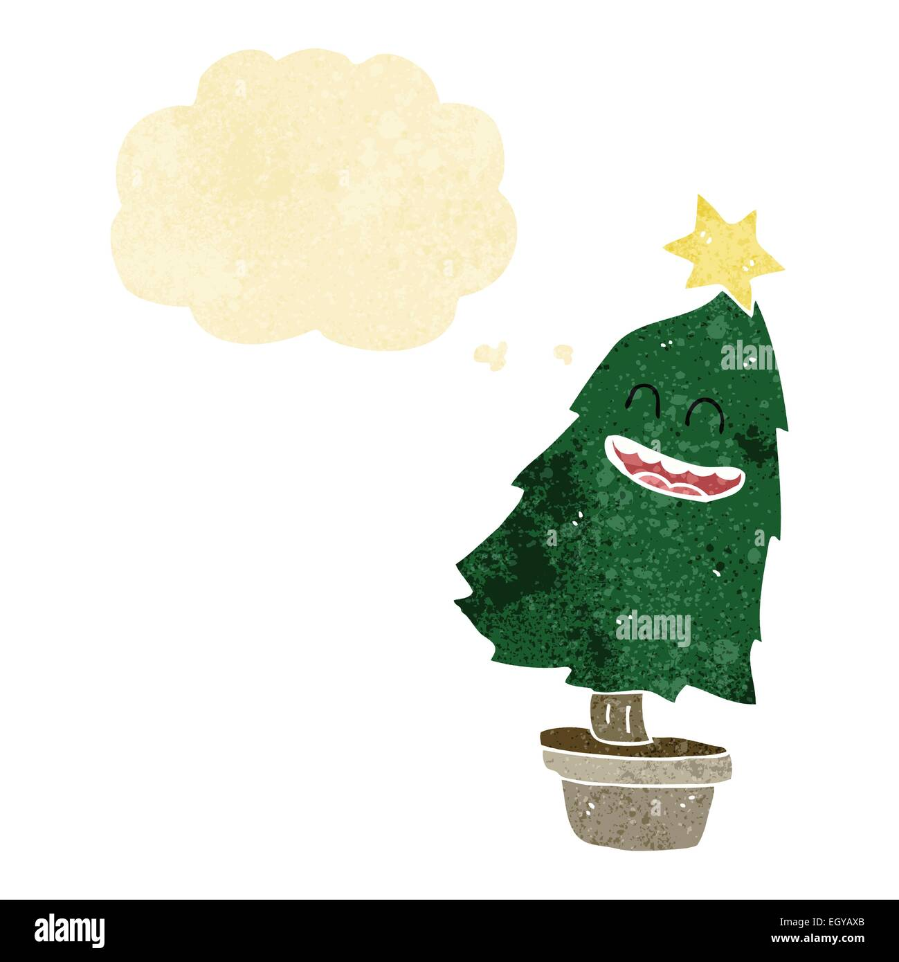 cartoon dancing christmas tree with thought bubble stock image