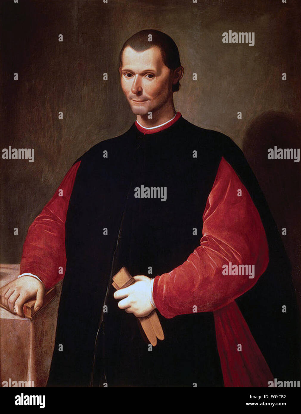 Portrait of Niccolo Machiavelli by Santi di Tito. Niccolò di Bernardo dei Machiavelli -3 May 1469 – 21 June - Stock Image
