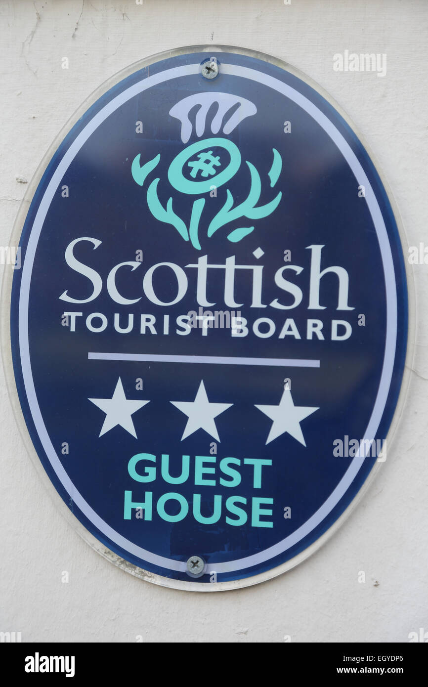 Scottish Tourist Board Guest House sign. - Stock Image