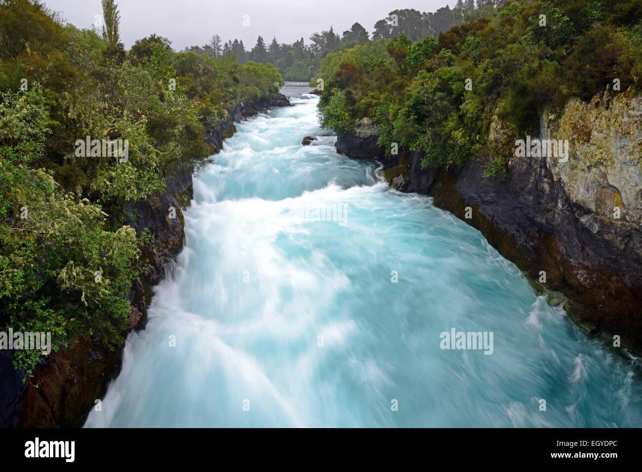 The Huka Falls on the Waikato River, near Taupo, on the North Island of New Zealand. - Stock Image