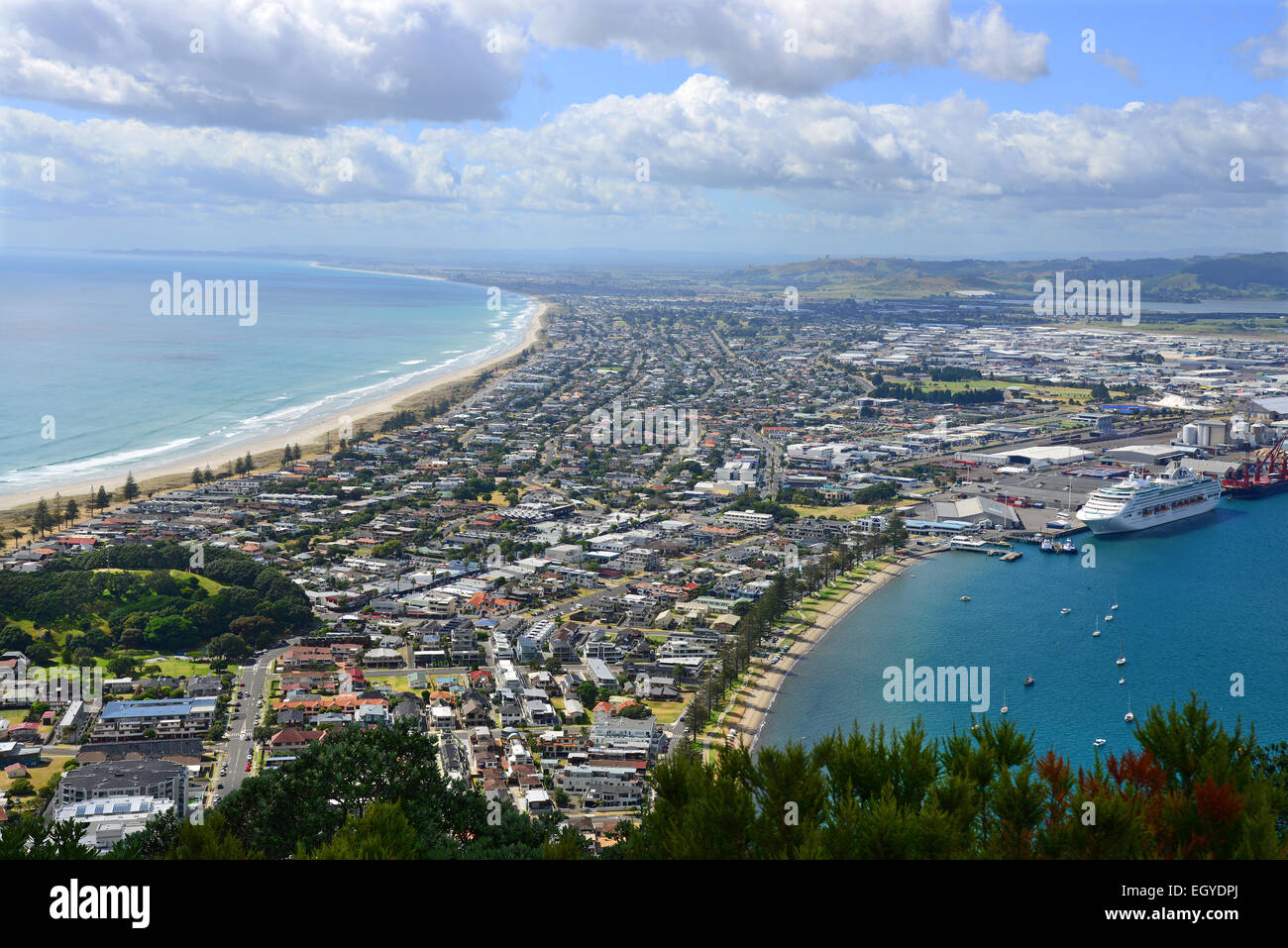 View of the town of Tauranga from the top of Mount Maunganui in New Zealand's North Island. - Stock Image