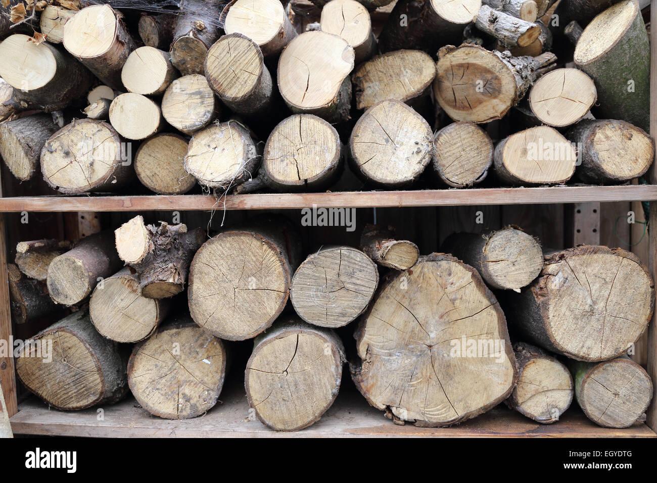 Log pile seasoning - Stock Image