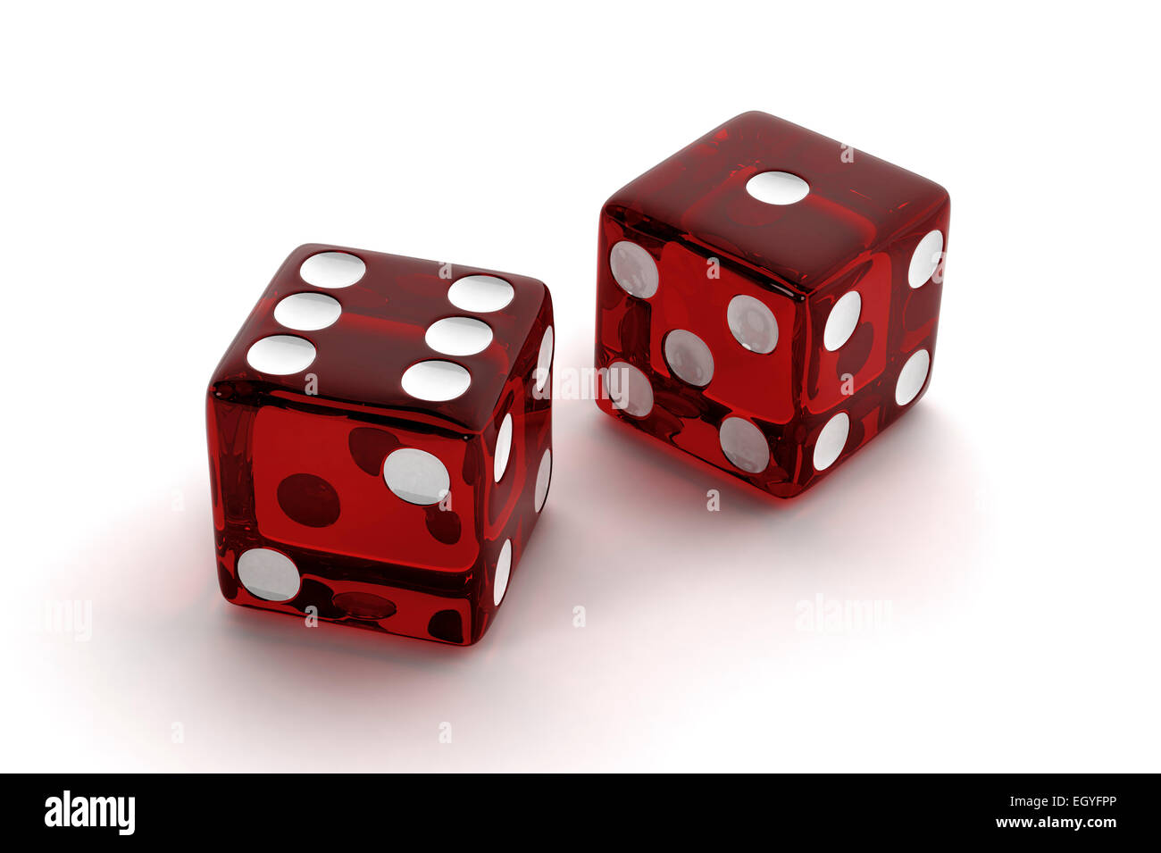 Two red, semi-transparent craps dice - Stock Image