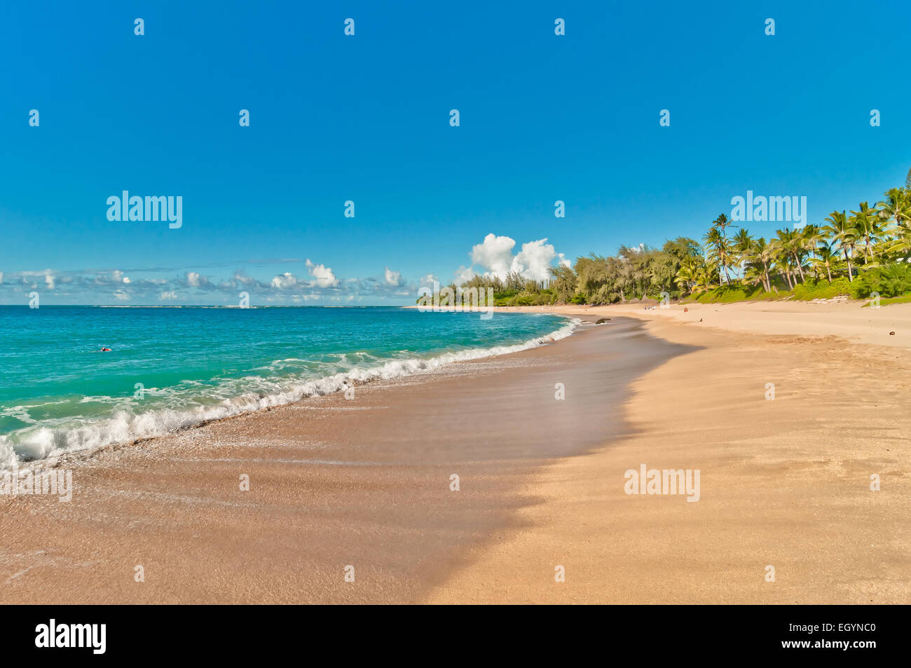tropical exotic secluded Haena beach in Kauai island, Hawaii - Stock Image