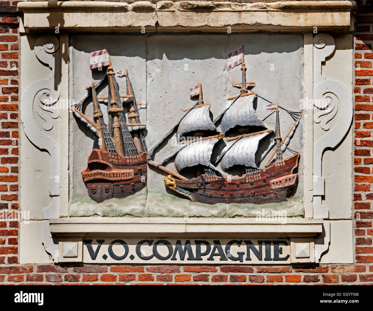 The façade of this storehouse of 1610 the Dutch East India Company ( VOC ) is a plaque with two under Hoorn - Stock Image