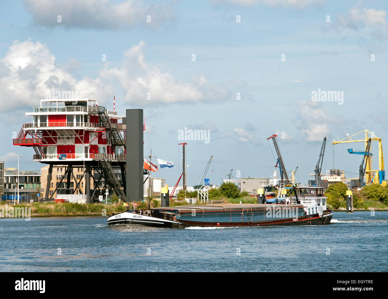 REM Eiland - 2011 Restaurant on the IJ Port Amsterdam Netherlands ( REM Island built in the Republic of Ireland - Stock Image