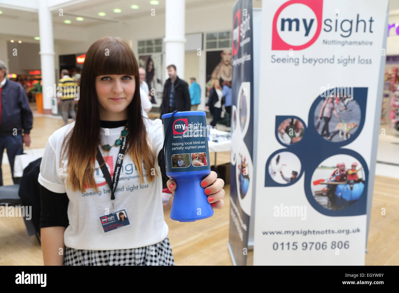Stall promoting products and services for people with visual impairments, run by the charity Mysight in Nottingham - Stock Image