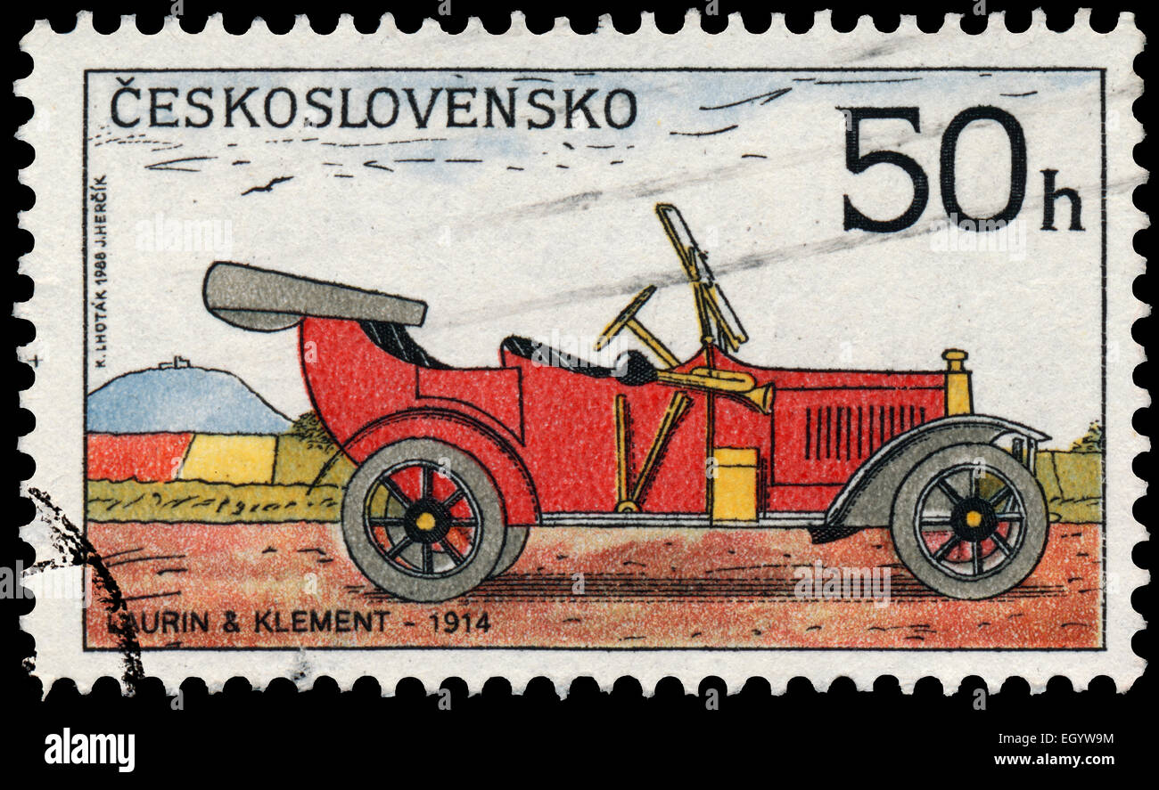 CZECHOSLOVAKIA - CIRCA 1988: Stamp printed in Czechoslovakia from the 'Historic Motor Cars' issue shows - Stock Image