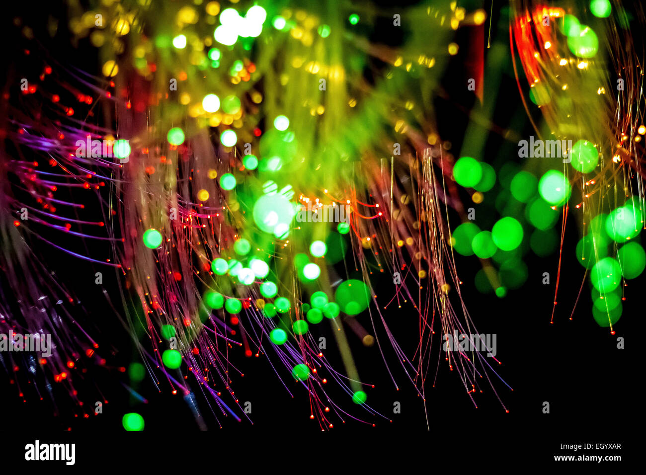Multicolored Fiber optics with selective focus. - Stock Image