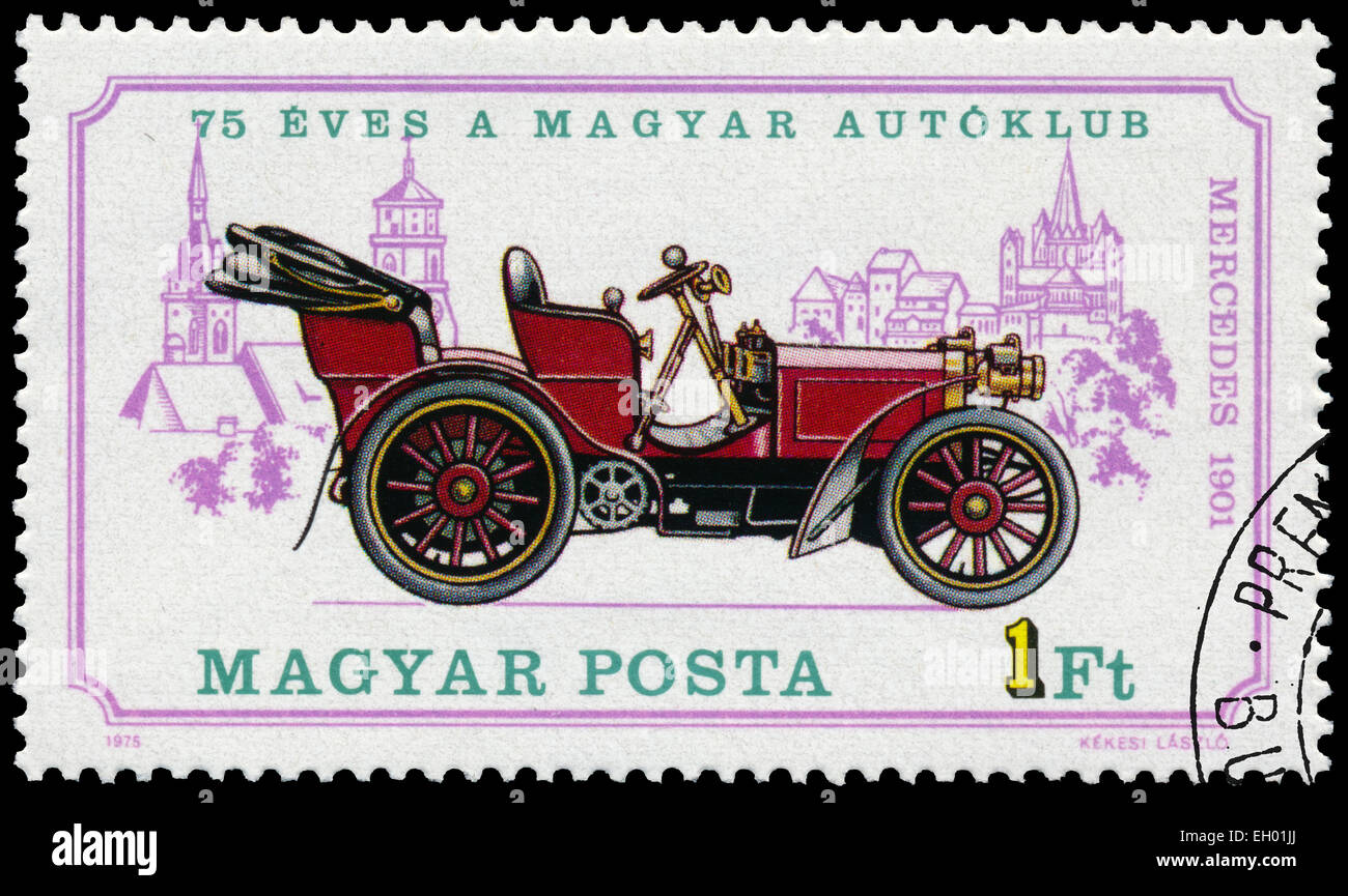 HUNGARY - CIRCA 1975: Stamp printed in Hungary shows retro car Mercedes, circa 1975 - Stock Image