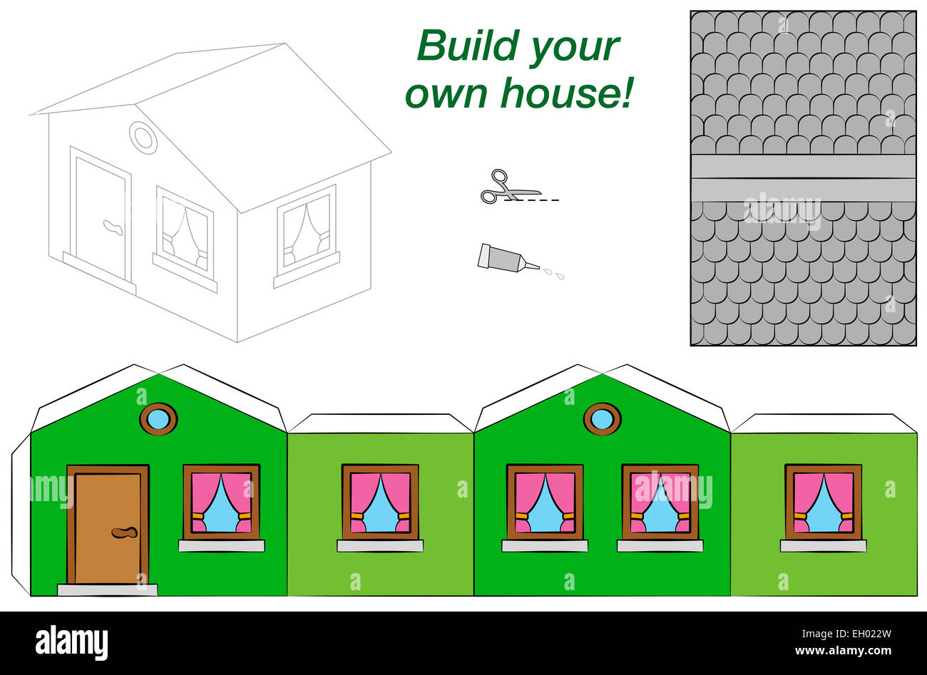 Paper Model Of A Funny Cartoon House With Green Walls Pink Curtains