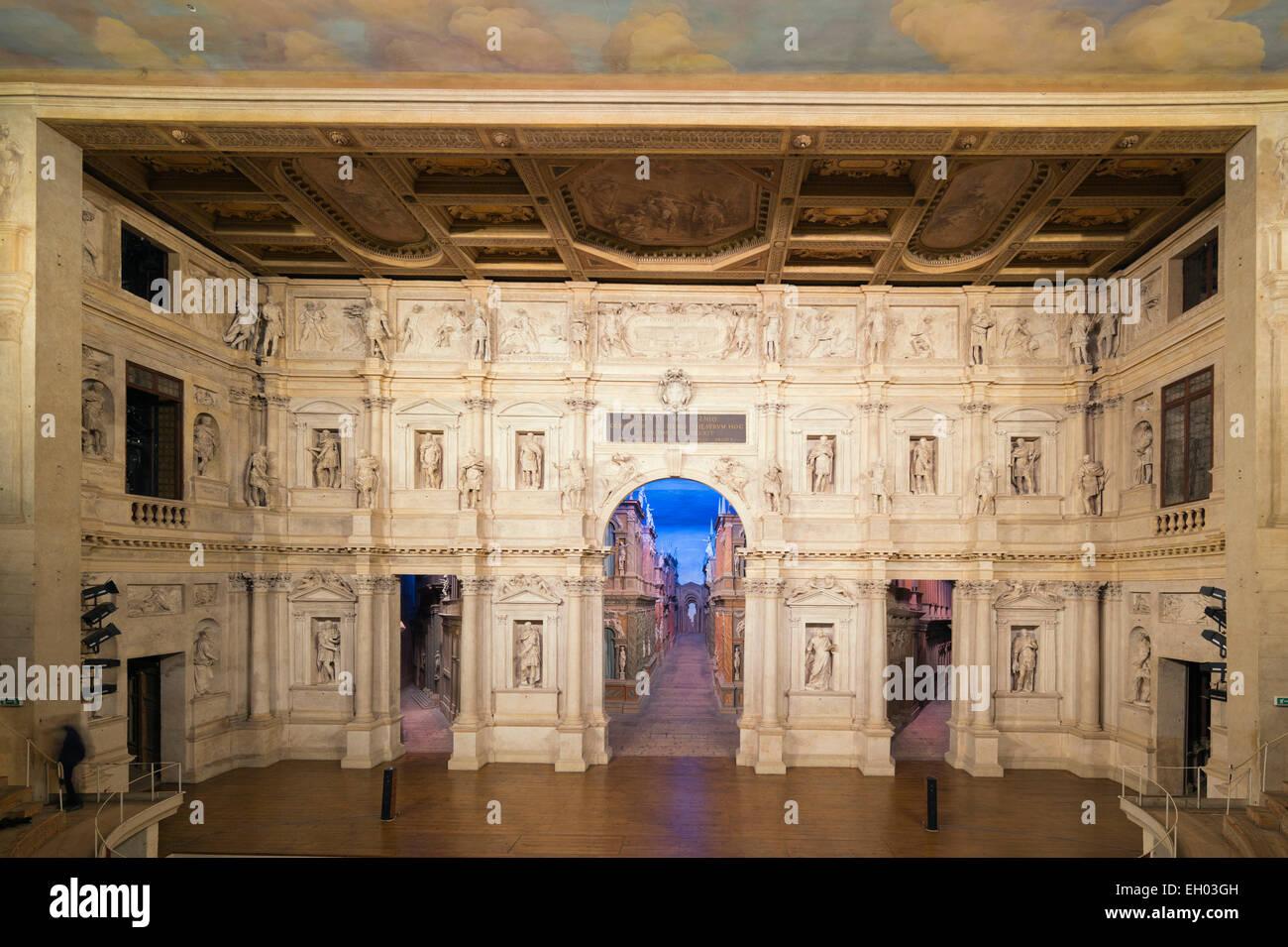 Europe, Italy, Veneto, Vicenza, Teatro Olimpico, theatre designed Andrea Palladio, Unesco World Heritage Site - Stock Image