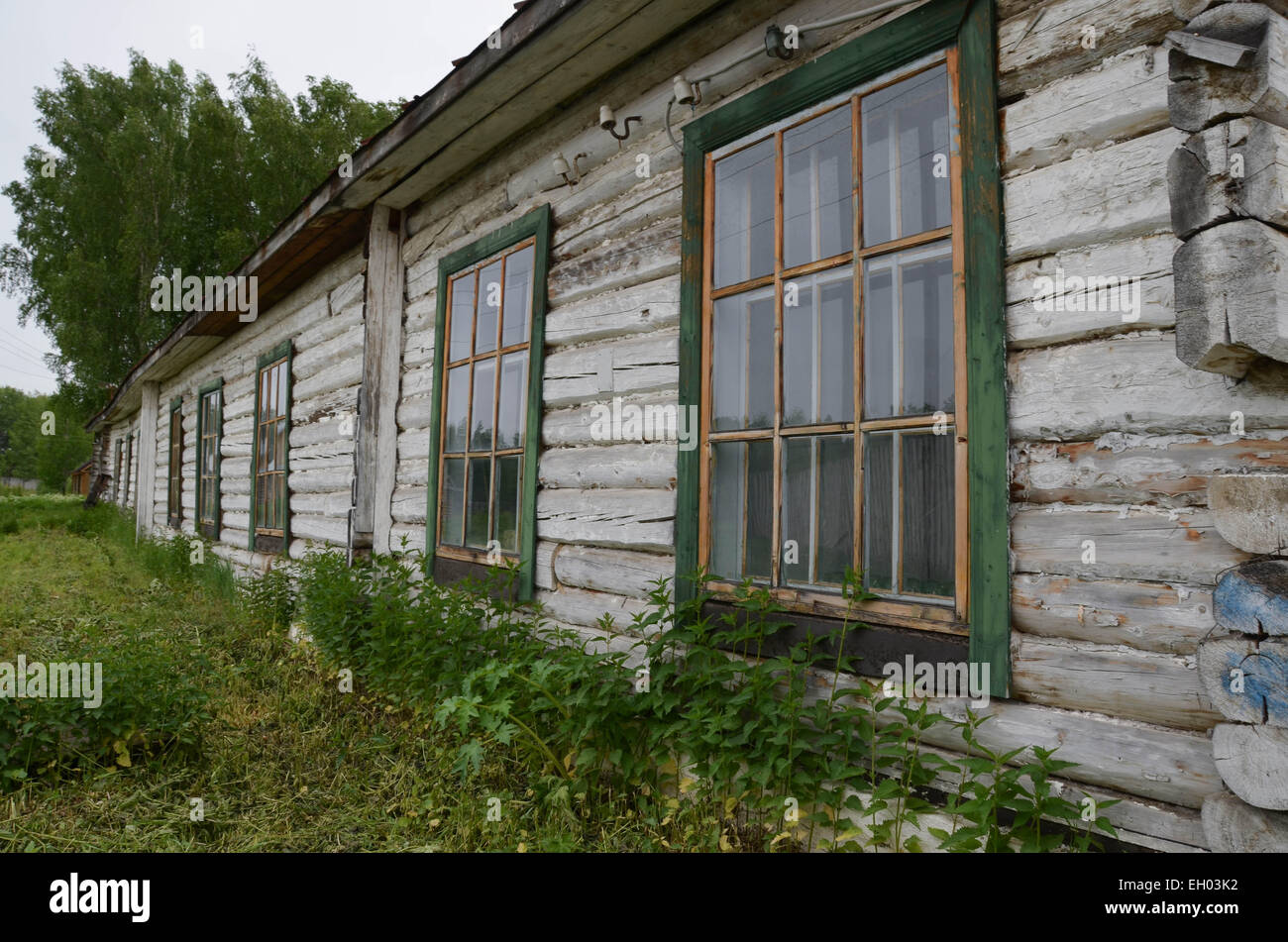 The former soviet gulag camp of Perm36, west of the Ural range in Russia near the town of Perm. A barrack for prisoners. - Stock Image