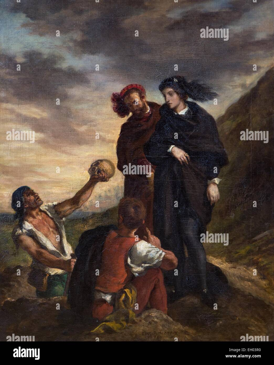 ActiveMuseum_0003348.jpg / Hamlet with Horatio (the gravedigger scene) - oil on canvas 25/09/2013  -   / 19th century - Stock Image
