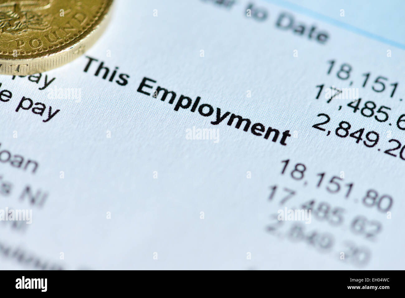 A payslip detailing amount of wages paid - Stock Image