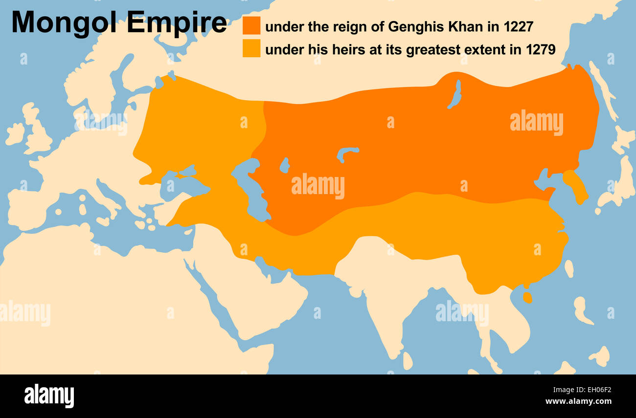 Genghis Khan's Mongol Empire in 1227 and at its greatest extent in 1279.