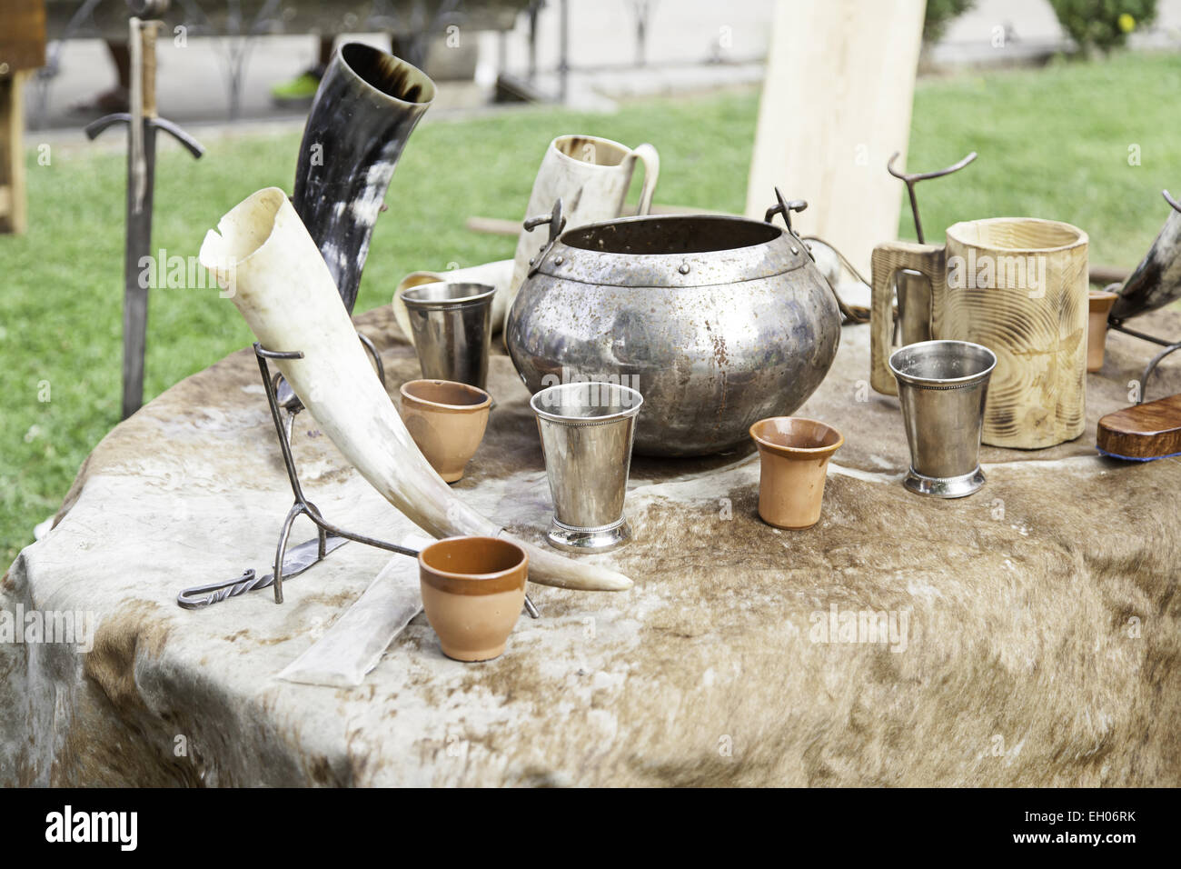 Ancient medieval bowls, detail of old containers - Stock Image