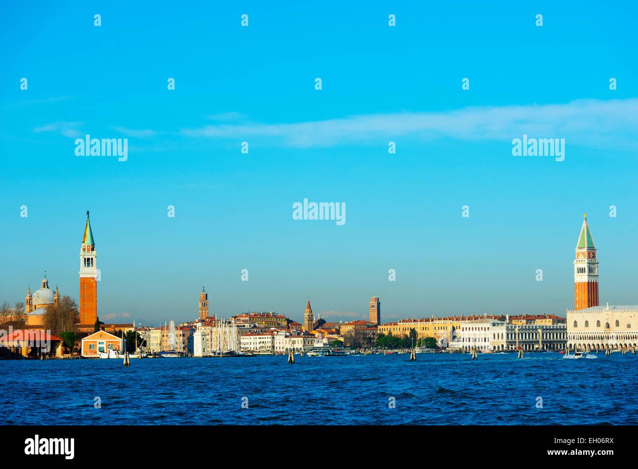 Europe, Italy, Veneto, Venice, San Giorgio Maggiore Church across Basino di San, Venice lagoon Stock Photo