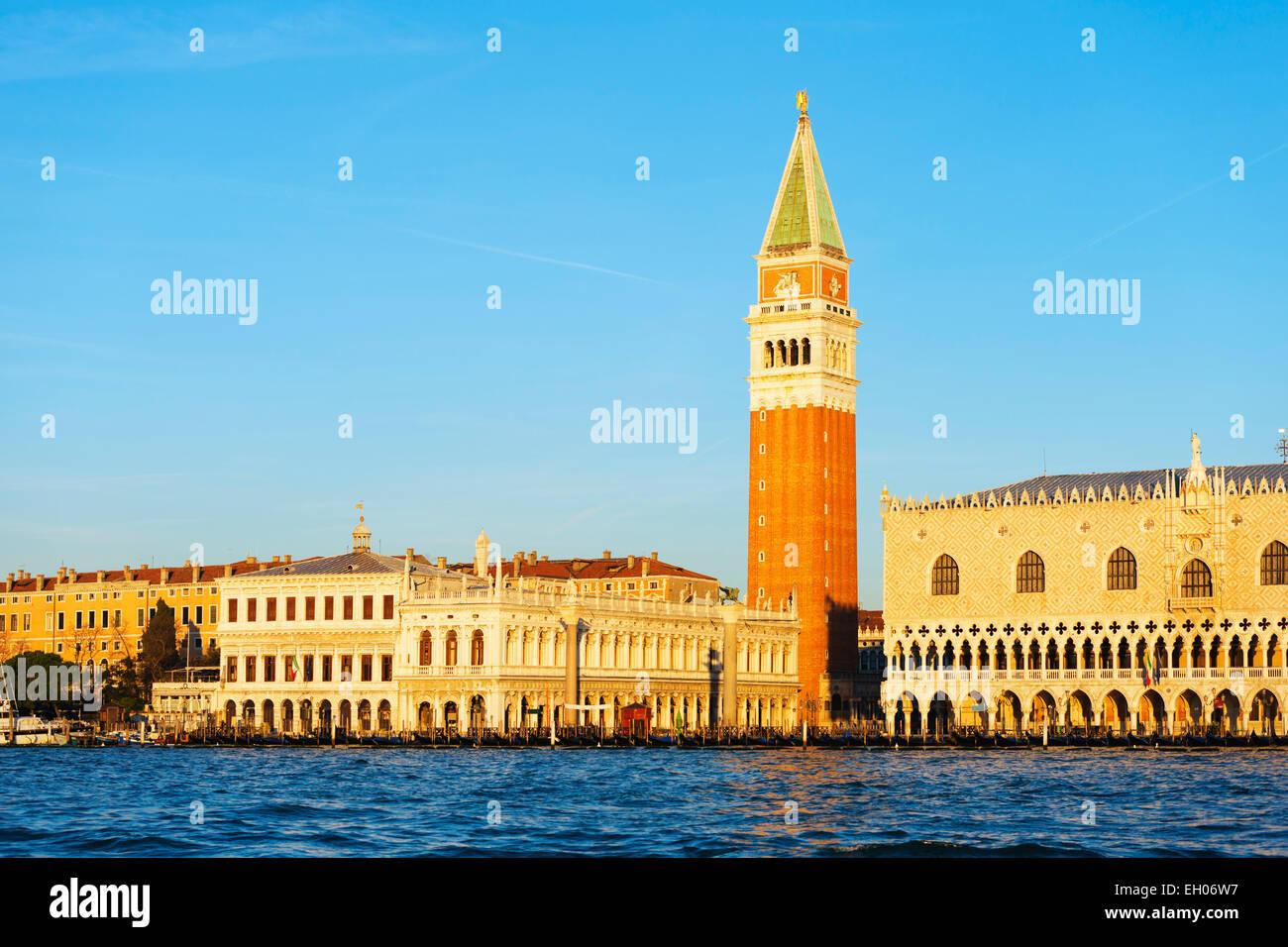 Europe, Italy, Veneto, Venice, Campanile di San Marco in Venice lagoon Stock Photo