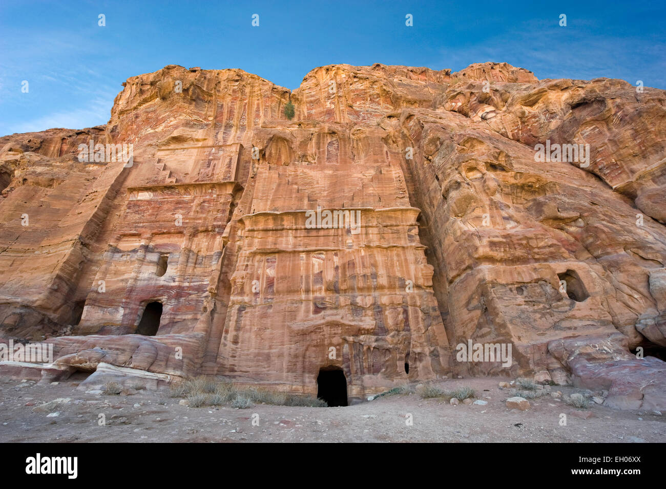 Three of the royal tombs in Petra in Jordan - Stock Image