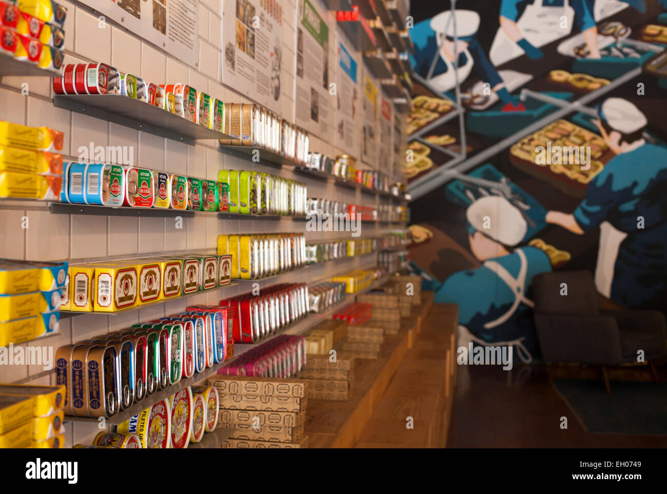SHOP ' A LOJA DAS CONSERVAS ' WITH TINNED FISH AT DOWNTOWN LISBON, PORTUGAL. - Stock Image