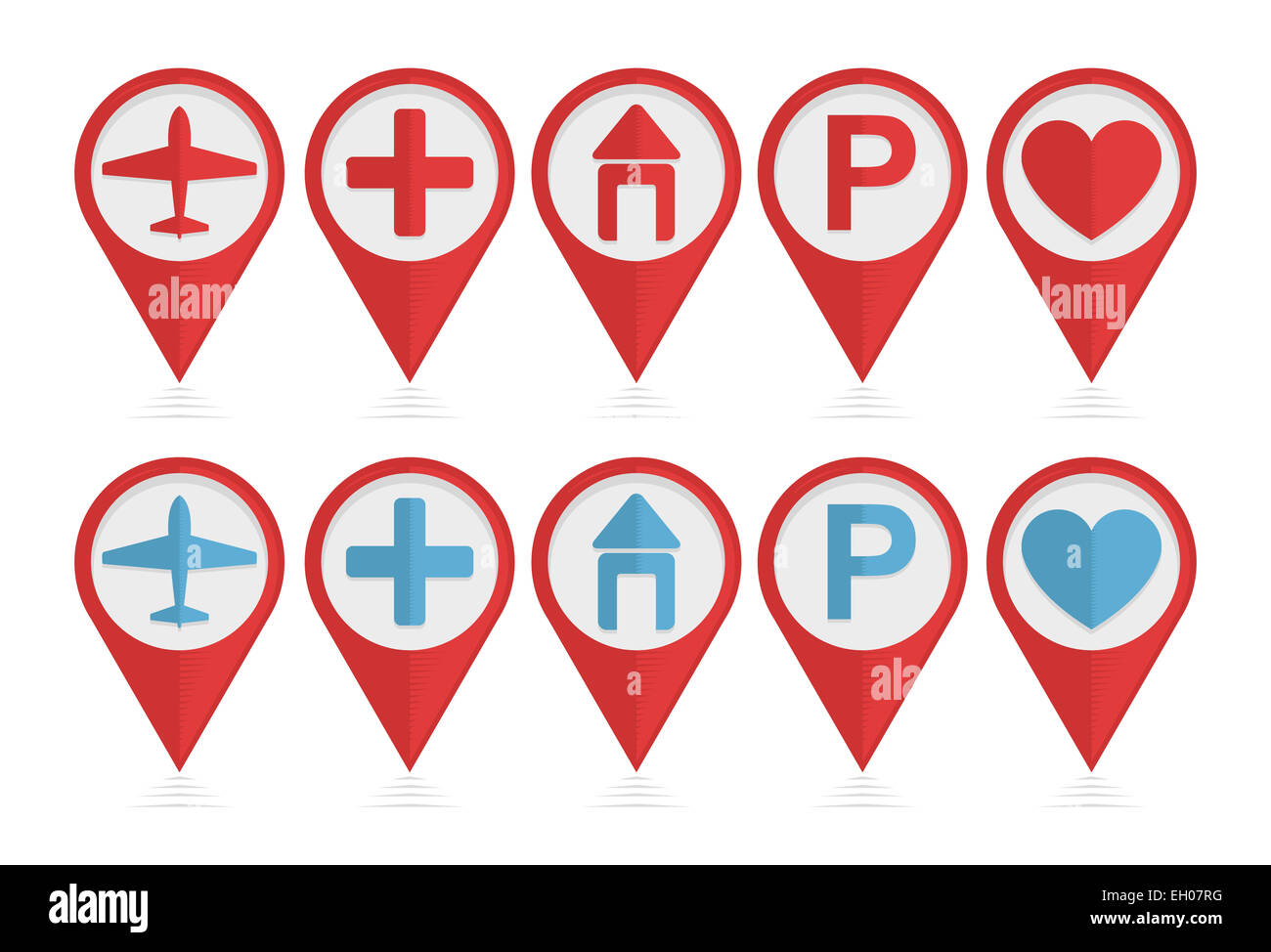 Vector set of pointers with airplane, hotel, parking, health icons Stock Photo