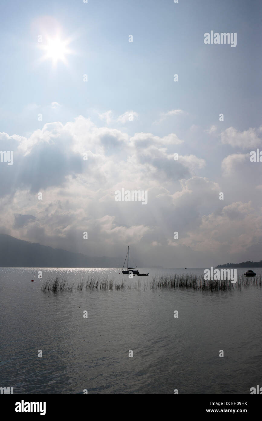 Austria, Nussdorf, stormy atmosphere at lake Atterssee - Stock Image