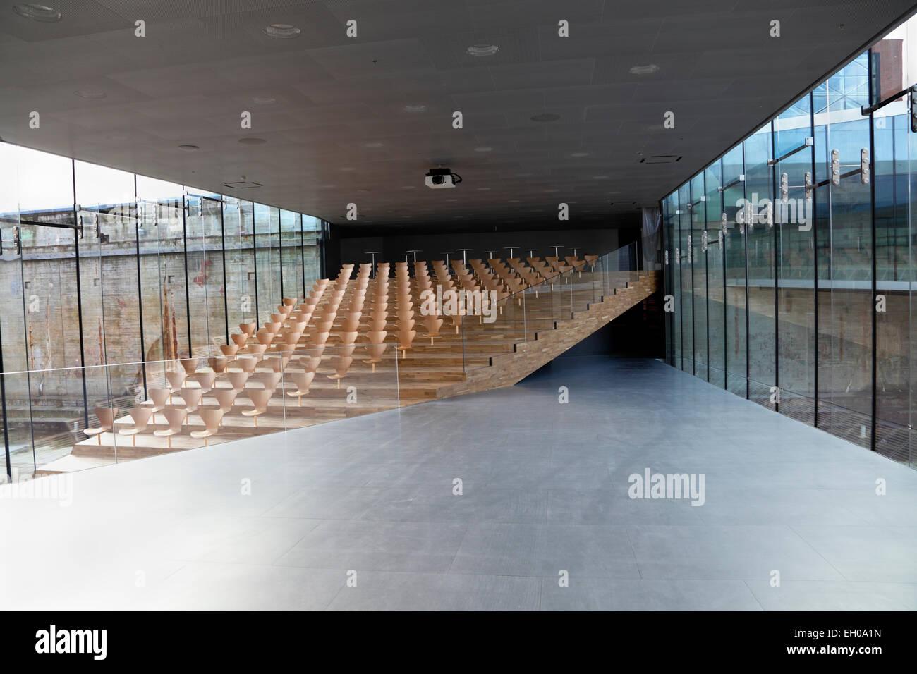 Lecture Theatre in the Maritime Museum of Denmark, M/S Museet for Søfart, Helsingør Denmark. Bjarke Ingels - Stock Image