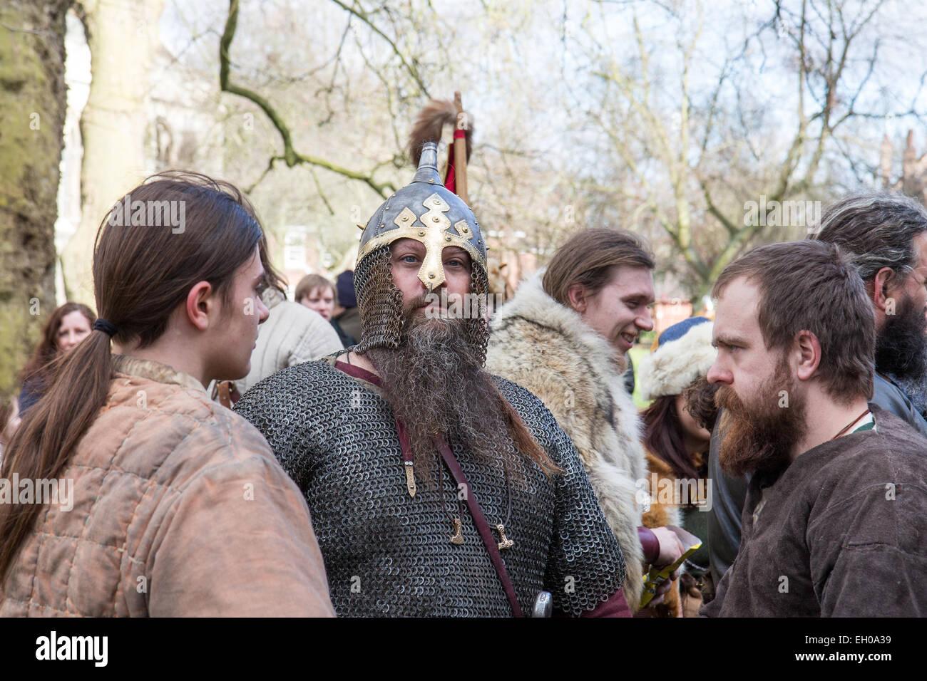 People taking part in the Jorvik Viking Festival, York 2015 - Stock Image