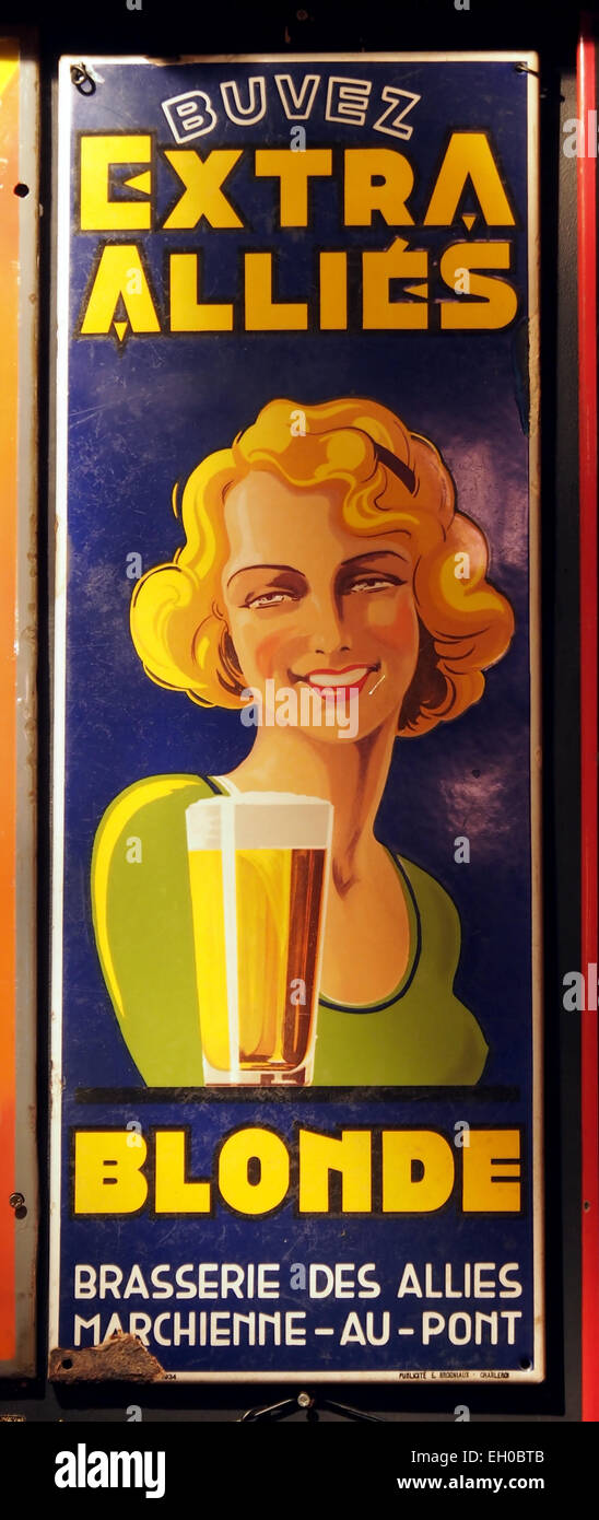 Buvez Extra Allies Blonde enamel advertising sign - Stock Image
