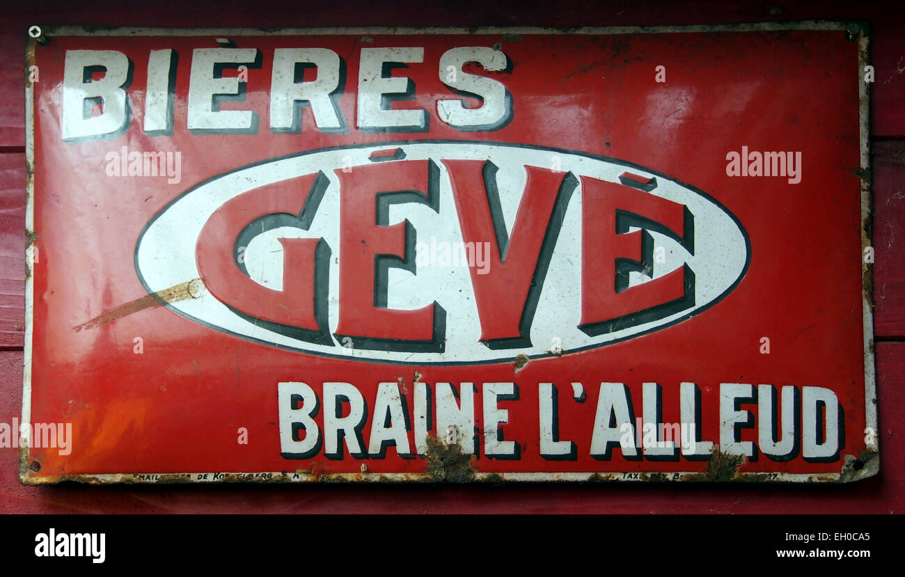 Geve Bieres emaille reclame bord - Stock Image