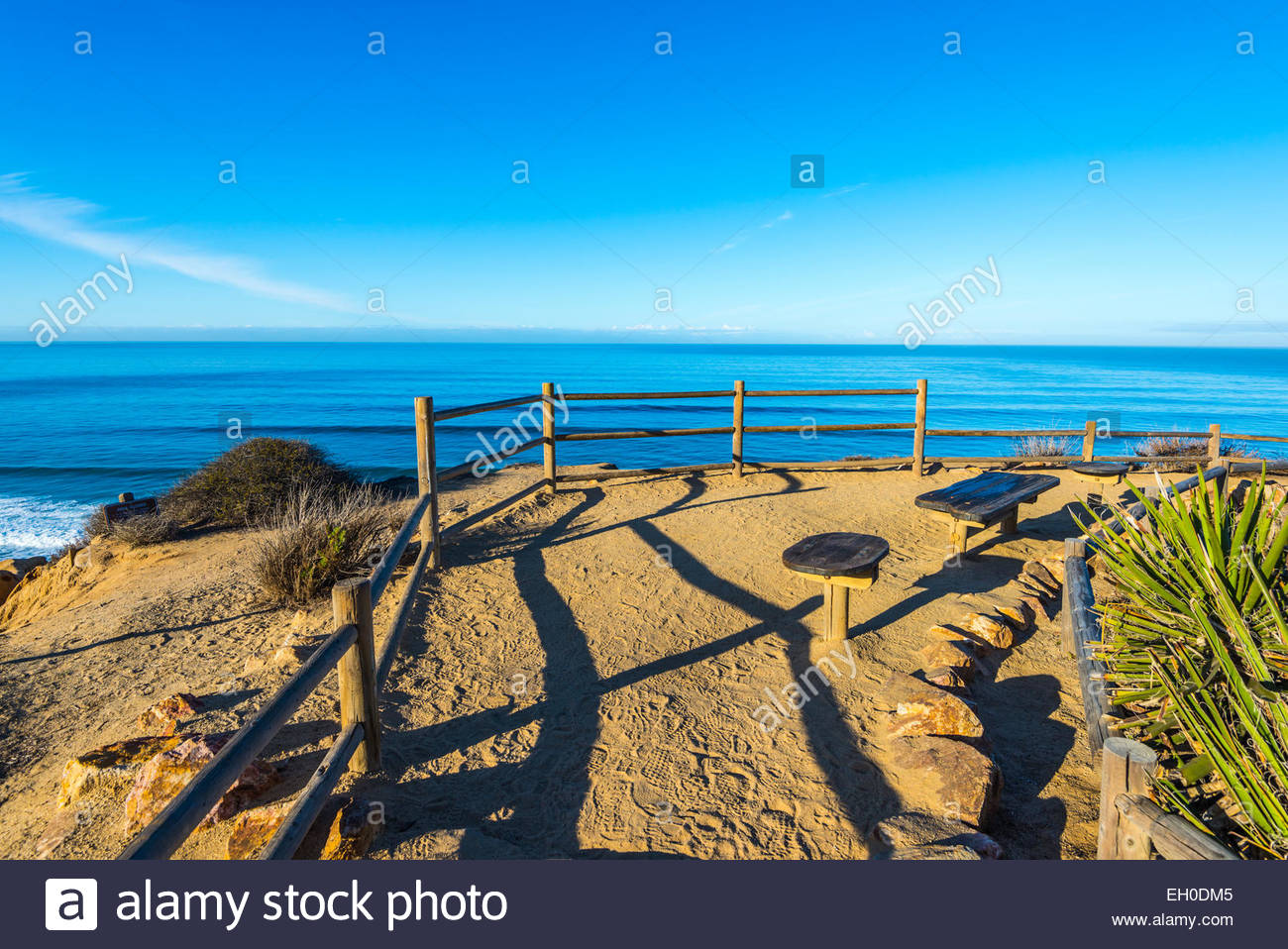 Ocean view from an overlook located at Yucca Point. Torrey Pines State Natural Reserve, La Jolla,California, United - Stock Image