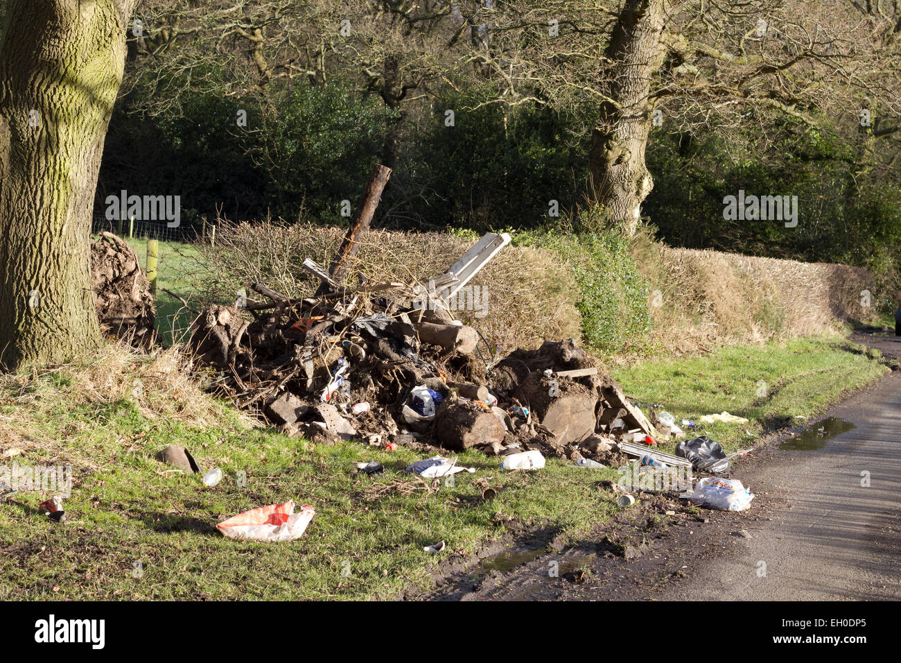 Fly tipping in a country lane.Garden and household rubbish dumped against a hedgerow in England, UK. - Stock Image