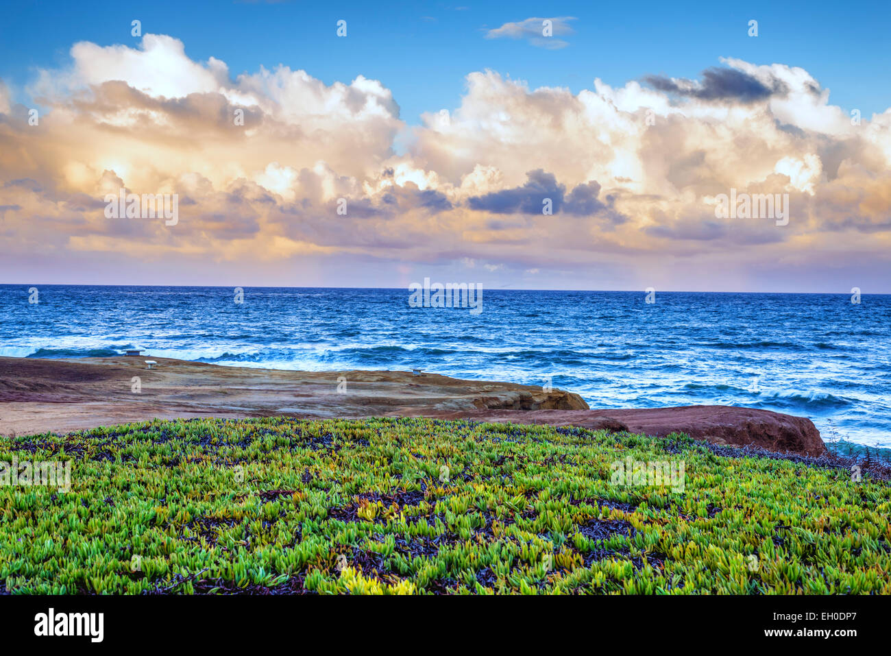 View of clouds over the Pacific Ocean from a viewpoint above Sunset Cliffs Natural Park, California, United States. Stock Photo