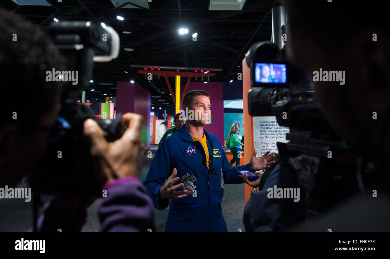 NASA Astronaut Reid Wiseman is interviewed by media at the Maryland Science Center during a visit to his hometown Stock Photo