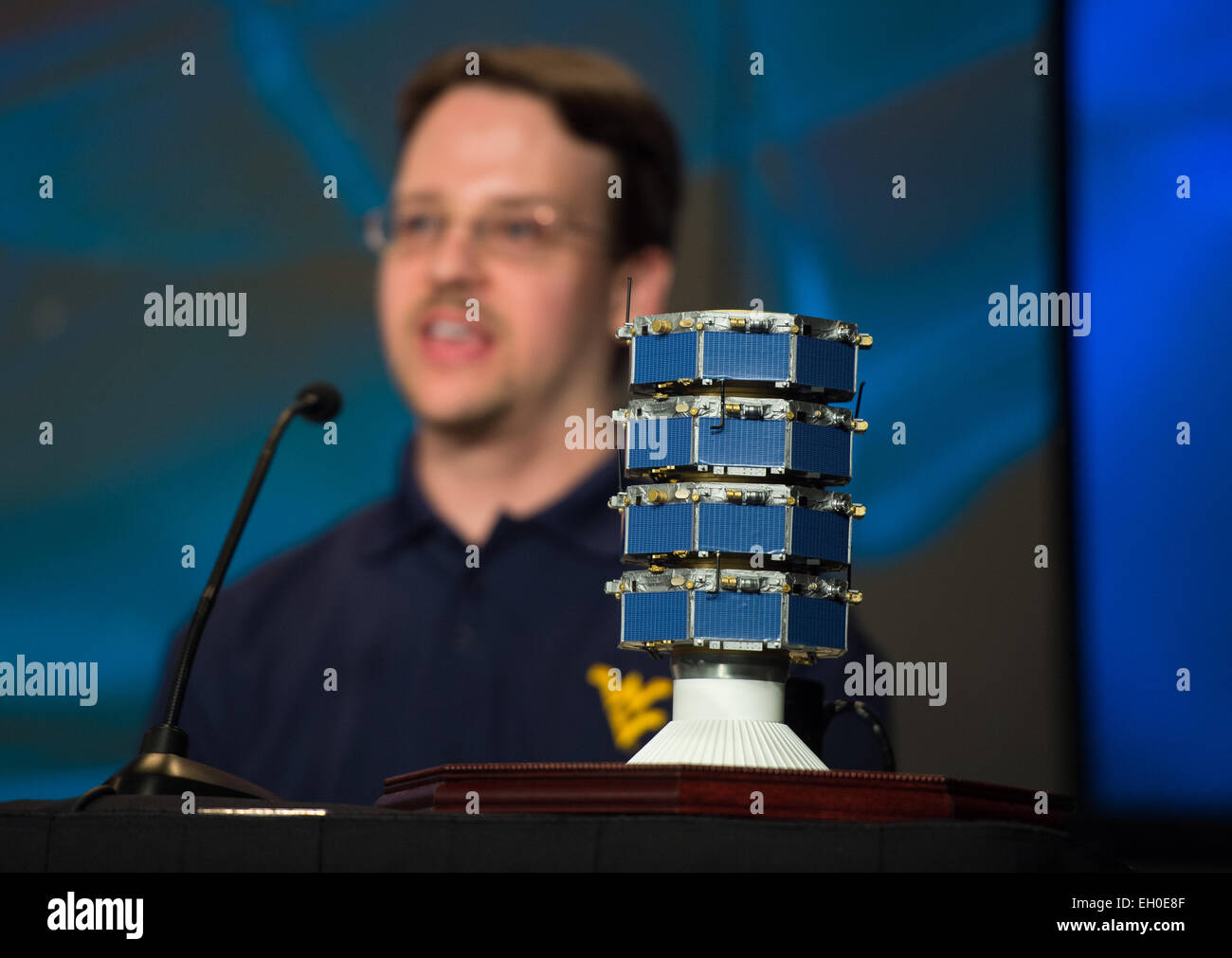 Paul Cassak, associate professor, West Virginia University, speaks during a briefing about the upcoming launch of - Stock Image