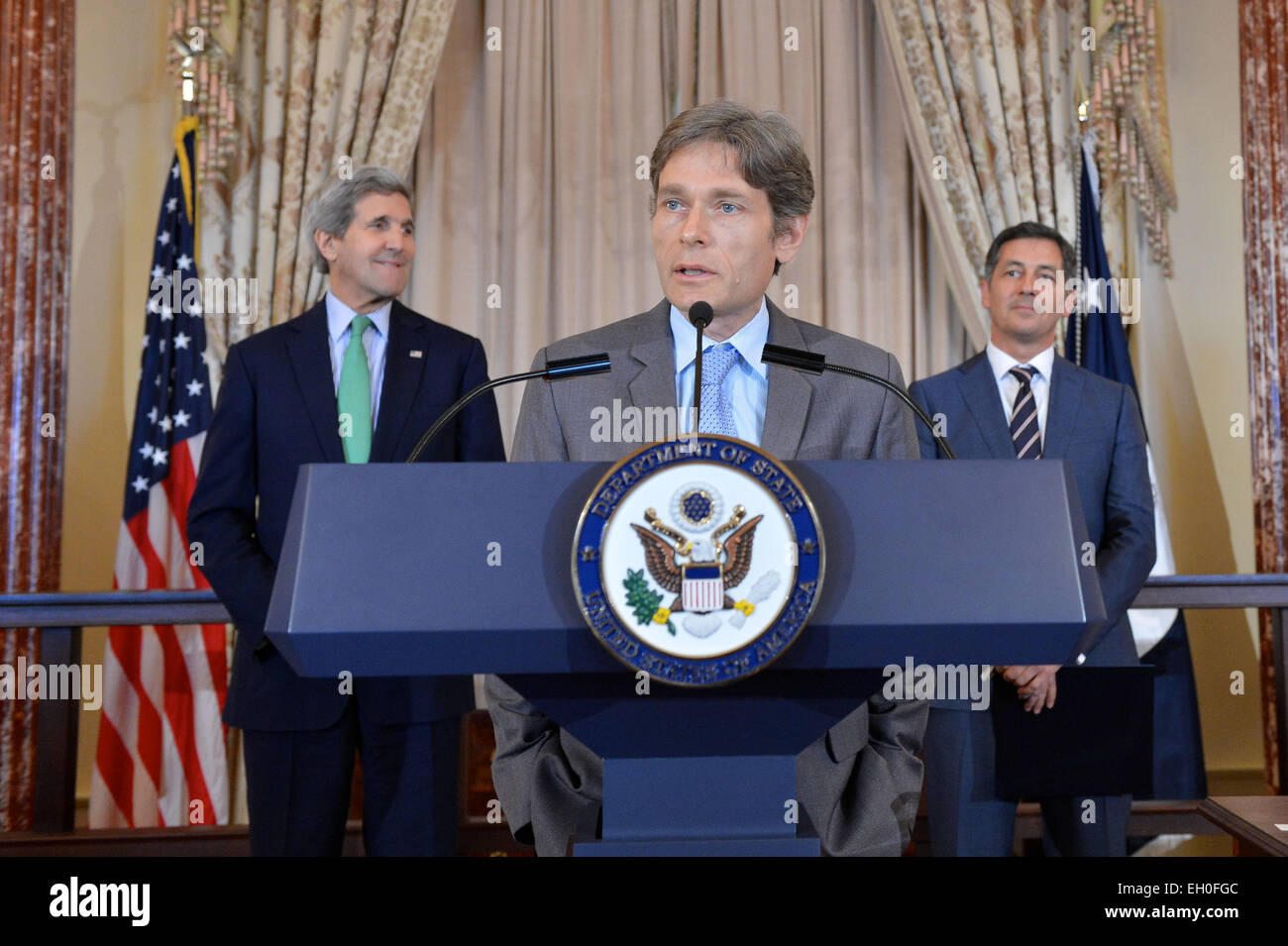 Assistant Secretary of State for Democracy, Human Rights and Labor Tom Malinowski delivers remarks at the welcome Stock Photo