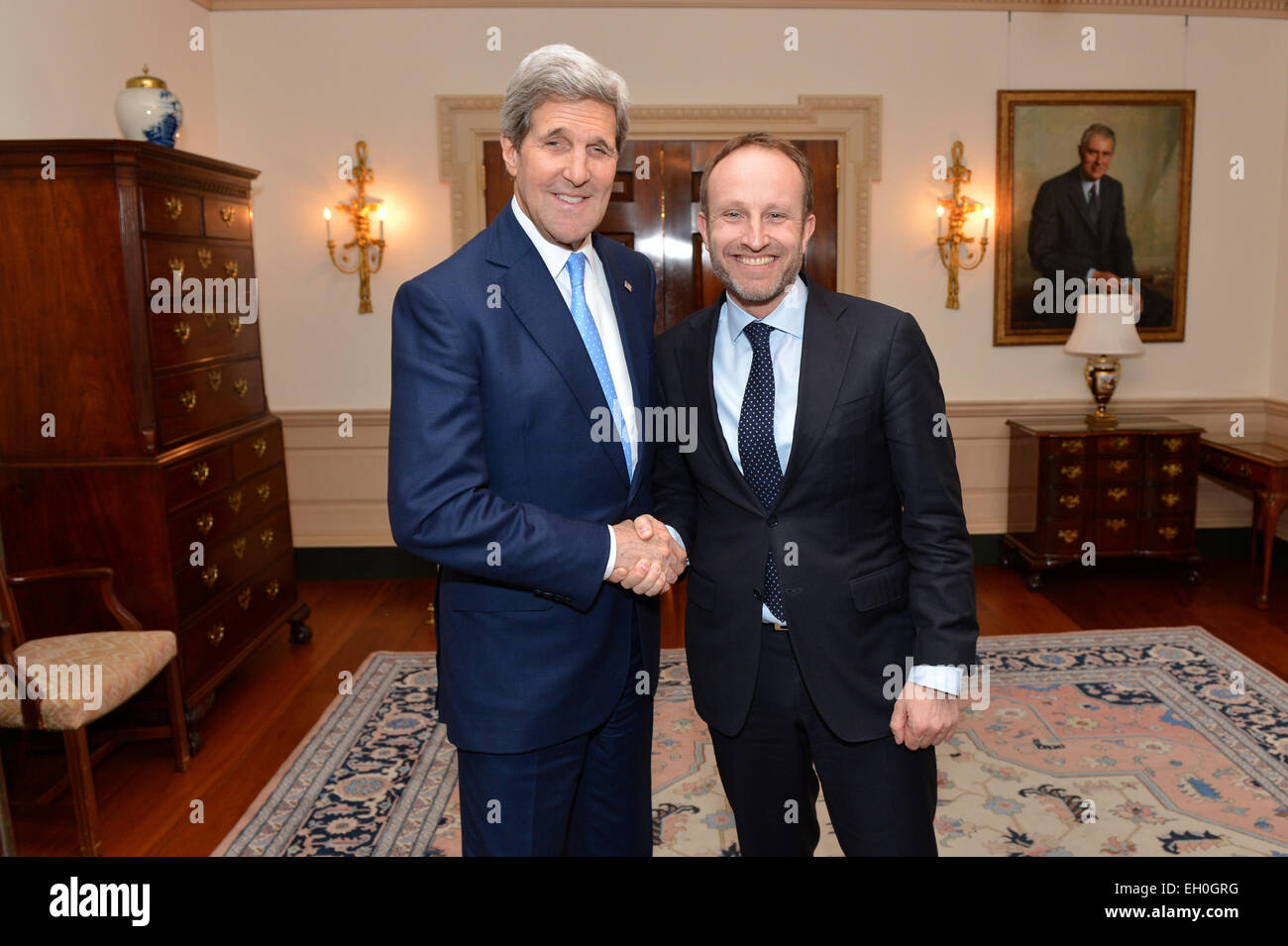 U s secretary of state john kerry greets danish foreign minister martin lidegaard before their meeting on the margins of the white house summit to counter
