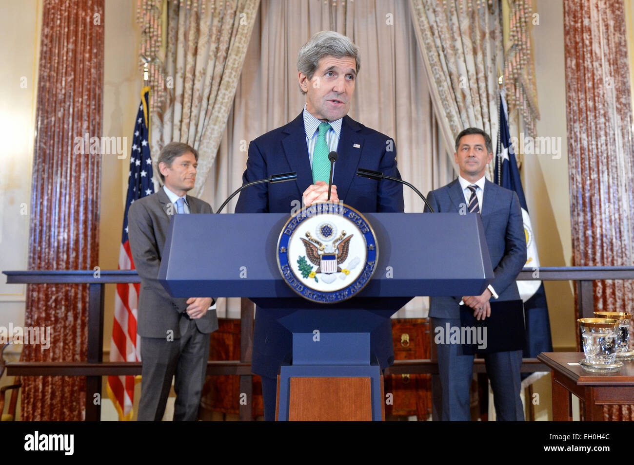 U.S. Secretary of State John Kerry hosts a welcome reception to commemorate the announcement of Randy Berry as the Stock Photo