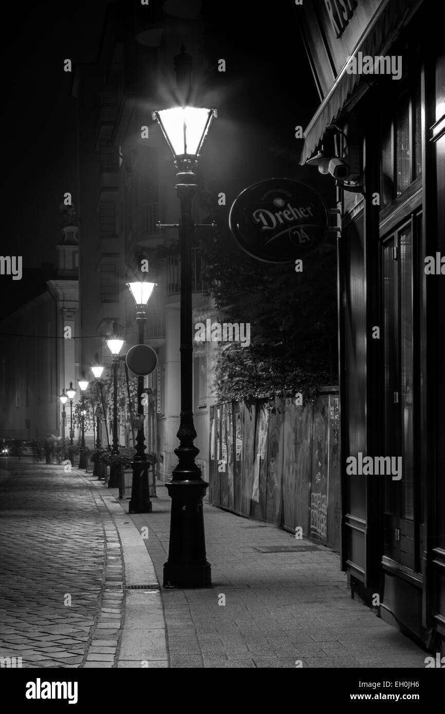 Street lights lamp post light the quiet cobblestone street in the quiet historic city of