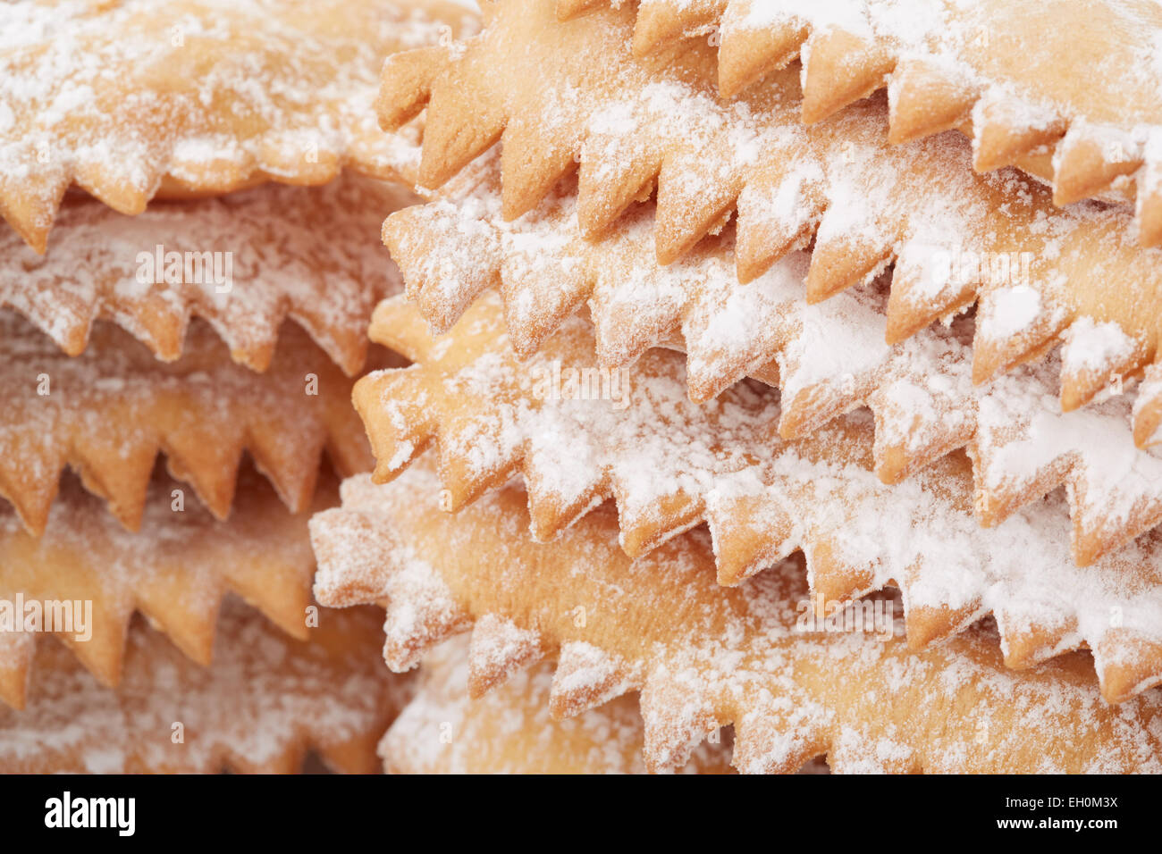 Chiacchiere, italian Carnival pastry heap close up - Stock Image