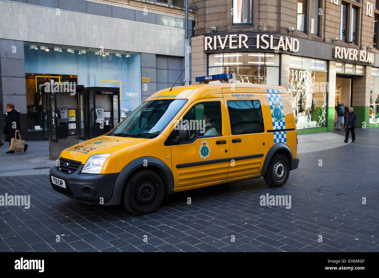 Police Community Safety Mobile CCTV Unit vehicle, with roof camera, patrolling Liverpool One, Merseyside, UK - Stock Image